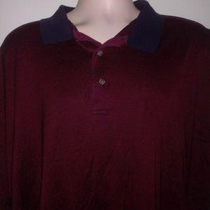 Alan Flusser Polo Golf Shirt Sz 2XL Maroon/Blue